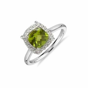 9.25 Silver Ring Peridot Silver Ring for Women (Color : Green)