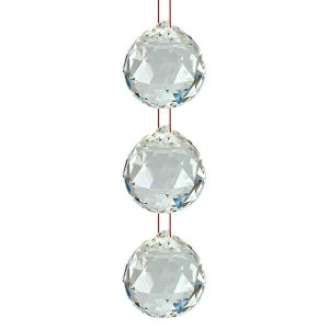 Glass Ball Sun Catcher Rainbow Prism Glass Ornament Feng-Shui for Good-Luck, Positivity, Happy Vibes and Home Decor with Red Thread, Pack of 3