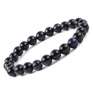 Goldstone Blue 8 mm Round Bead Bracelet