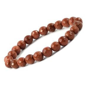 Goldstone Brown 8 mm Faceted Bead Bracelet
