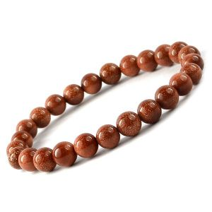 Goldstone Brown 8 mm Round Bead Bracelet