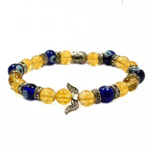 Citrine  & Evil Eye with Head Buddha and Angel Feather Bracelet