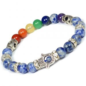 Natural 7 Chakra Sodalite Bracelet Combination Bracelet Crystal Bracelet 8 mm Stone Bracelet with Hamsa Charm