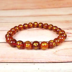 Red Onyx Om Mani Padme Hum 8 mm Engraved Beads Bracelet