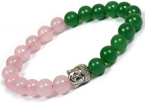 Green Jade & Rose Quartz with Buddha Head Charm Bracelet