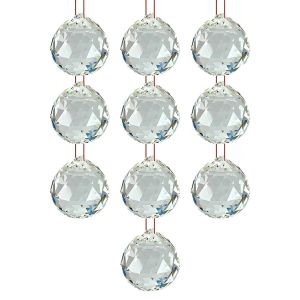 Hanging Glass Ball Sun Catcher Rainbow Prism Glass Ornament Feng-Shui for Good-Luck, Positivity, Happy Vibes and Home Decor with Red Thread, Pack of 10