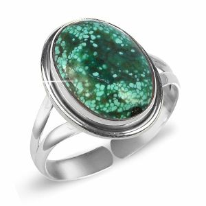 92.5 Silver Ring Turquoise Gemstone Adjustable Ring for Unisex (Color : Blue)