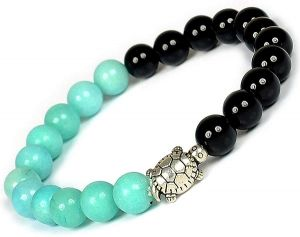 Amazonite & Onyx with Turtle Charm Bracelet
