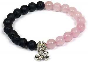 Rose Quartz & Lava with Duck Charm Bracelet
