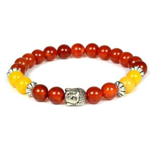 Carnelian & Yellow Jade with Buddha Head Bracelet