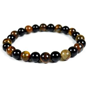 Tiger Eye with Black Tourmaline Combination 8 mm Bead Bracelet