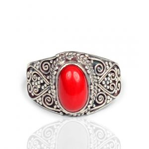 92.5 Sterling Silver Ring Moonga/Red Coral Gemstone Adjustable Ring (Color : Red & Silver)