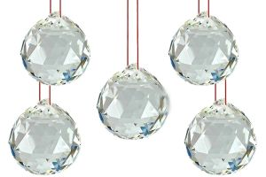 Glass Ball with Red Thread (40 mm) -Pack of 5 piece
