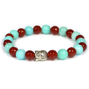 Carnelian & Amazonite with DC  Buddha Head Bracelet