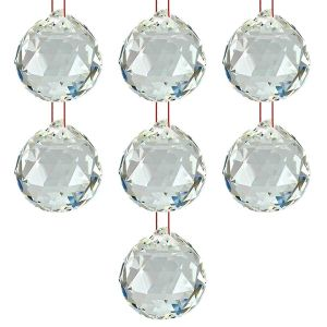 Hanging Glass Ball Sun Catcher Rainbow Prism Glass Ornament Feng-Shui for Good-Luck, Positivity, Happy Vibes and Home Decor with Red Thread, Pack of 7