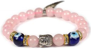 Rose Quartz Bracelet Evil Eye Bracelet with Buddha Head, Eagle Wing