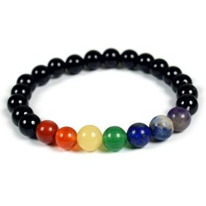 7 Chakra Bracelet with Black Tourmaline Stone Combination 8 mm Bracelet