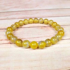 Yellow Onyx Om Mani Padme Hum 8 mm Engraved Beads Bracelet