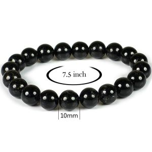 Certified Black Tourmaline 10 mm Round Bead Bracelet