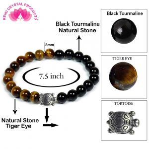 Tiger Eye & Black Tourmaline with Turtle Charm Bracelet