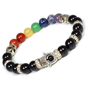 Black Tourmaline with 7 Chakra Hamsa Charm Bracelet