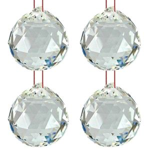 Hanging Glass Ball Sun Catcher Rainbow Prism Glass Ornament Feng-Shui for Good-Luck, Positivity, Happy Vibes and Home Decor with Red Thread, Pack of 4
