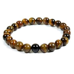 Tiger Eye Bracelet with Black Onyx Single Stone Combination 8 mm