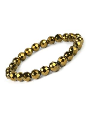 Hematite Golden 8 mm Faceted Bracelet