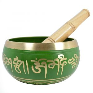 Green Singing Bowl 4 Inch with Wooden Stick