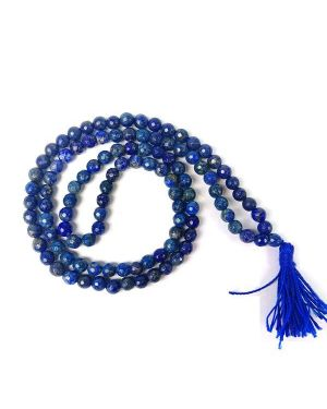 Lapis Lazuli 6 mm 108 Faceted Bead Mala / Necklace