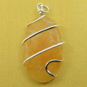 Citrine Oval Wire Wrapped Pendant