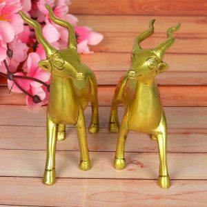 Pair of Standing Brass Deer Statue for Showpiece for Home/Office Décor and Gift