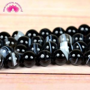 Natural Black Botswana Agate/Sulemani Hakik/Black Hakik Crystal - Stone/Beads/Gemstone 8mm Round Loose Beads in String for Making Necklace/Jewelry/Bracelet/Mala (BA81)