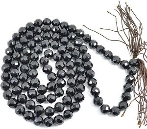 Black Onyx 10 mm Diamond Cut Crystal Stone Mala & Necklace