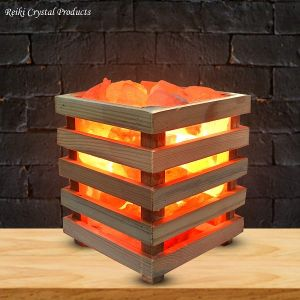 Himalayan Rock Salt Lamp Wooden Basket for Positive Energy