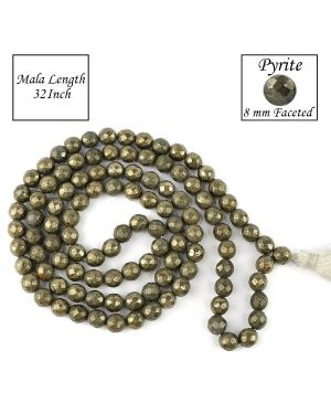 Pyrite 8 mm Faceted Bead Mala