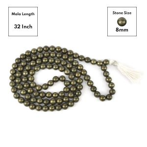 Pyrite 8 mm 108 Round Bead Mala