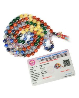 Certified 7 Chakra With Hematite 6 mm 108 Round Bead Mala with Certificate