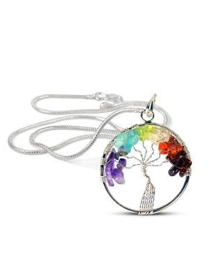 7 Chakra Tree of Life Pendant with Silver Polished Metal Chain