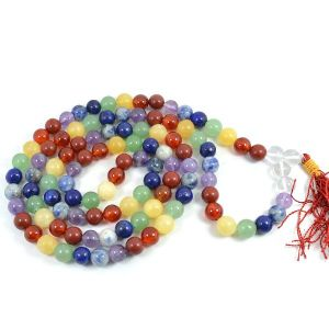 7 Chakra 8 mm Round Bead Mala & Necklace (108 Beads & 32 Inch Approx)