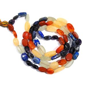 Natural Crystal Stone Oval Beads Mala/Necklace