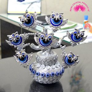 Porcelain Feng Shui Evil Eye Decorative Tree(Blue and silver)
