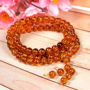 Amber Stone Bracelet Tibetan Round Bead Synthetic Orange-Yellow Loose Strand Necklace/Jewelry Making DIY Accessories 30 Inch for Unisex
