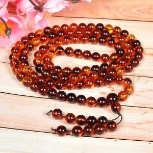 Red Amber Stone Bracelet Tibetan Round Bead Synthetic Loose Strand Necklace/Jewelry Making DIY Accessories 30 Inch for Unisex