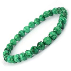 Malachite 6 mm Round Bead Bracelet