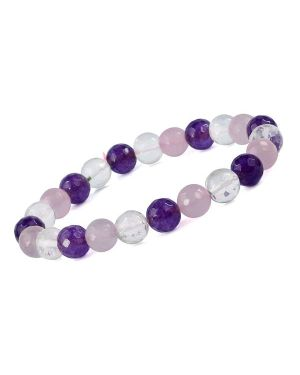 Mind Body Soul Rose Quartz Amethyst Clear Quartz 8 mm Faceted Bracelet