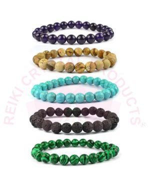 Natural Turquoise Firoza Malachite Jasper Amethyst Lava Crystal Stone 8 mm Beads Bracelet (Color : Multi) Combo Pack of 5 pc