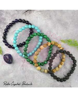 Turquoise / Firoza Malachite Pitcher Jasper Amethyst Lava 8 mm Bead Bracelet Combo Pack of 5 pc