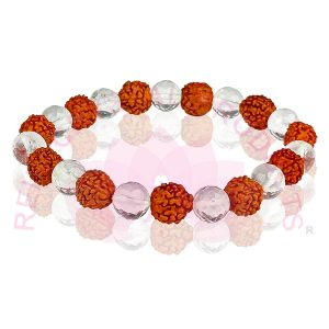 Rudraksha with Clear Quartz 8 mm Faceted Beads For Jewelery Making Bracelet, Necklace / Mala
