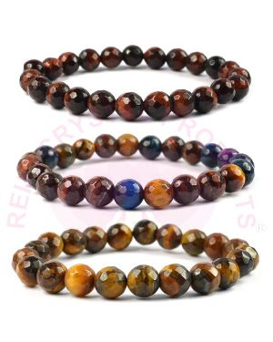Tiger Eye, Red Tiger Eye, Multi Tiger Eye 8 mm Faceted Bead Bracelet Combo Pack of 3 pc
